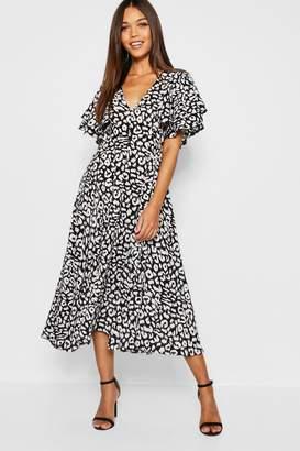 boohoo Leopard Print Ruffle Angel Sleeve Midi Dress