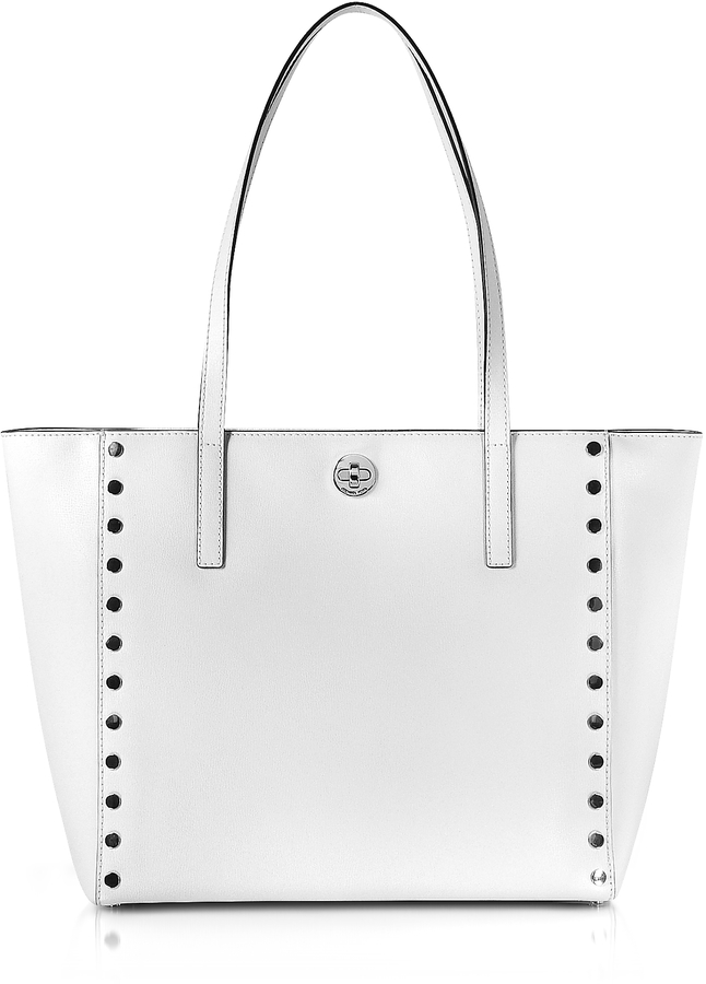 MICHAEL Michael Kors Michael Kors Optic White Studded Leather Rivington Large Tote Bag