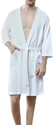 174fdad5fa KLJR Men Spa Bathrobe Sleepwear Lightweight Solid Color Pockets Nightwear Robe  US XL