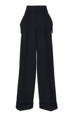 Dice Kayek Navy Wide Leg Pleat Pants