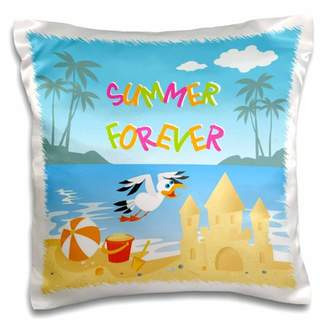 3dRose Forever summer tropical beach with islands, palm trees, a sand castle and seagull - Pillow Case, 16 by 16-inch