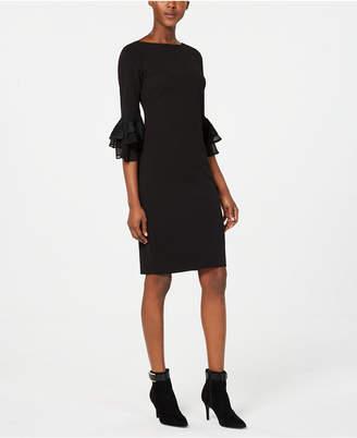 Calvin Klein Embroidered Bell-Sleeve Sheath Dress