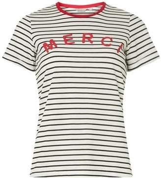 Dorothy Perkins Womens Petite Navy Striped 'Merci' Slogan T-Shirt