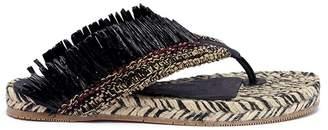 Paloma Barceló 'Cardota' fringed raffia slide sandals