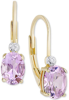 Macy's Birth Gemstone & Diamond Accent Drop Earrings in 18k Gold-Plated Sterling Silver (Available in all Birthstones)