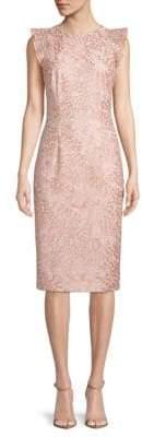 Carmen Marc Valvo Flutter-Sleeve Lace Dress
