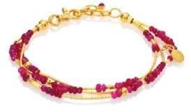 Gurhan Delicate Rain Ruby& 24K Yellow Gold Triple-Strand Bracelet