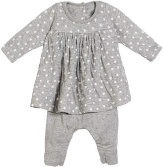 Petit Bateau Polka-Dot Dress w/ Attached Leggings, Size 1-12 Months