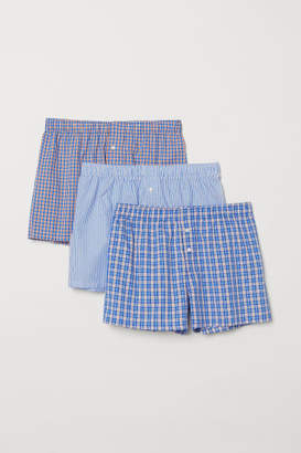 H&M 3-pack Woven Boxer Shorts - Blue