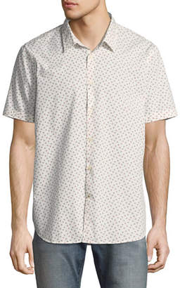 John Varvatos Mayfield Slim-Fit Short-Sleeve Windowpane Shirt, White