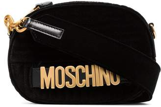 Moschino black logo quilted velvet bag