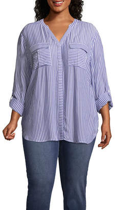 A.N.A 3/4 Sleeve Button-Front Stripe Shirt - Plus