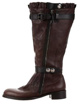 Balenciaga Leather Shearling-Lined Boots