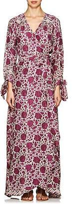 Natalie Martin Women's Nico Floral Silk Cover-Up Maxi Dress - Purple