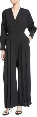 Donna Mizani Dean Bead-Cuff Pleated Jumpsuit