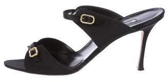 Manolo Blahnik Satin Buckle Sandals