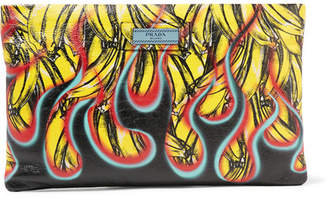 Prada Printed Textured-leather Pouch - Black
