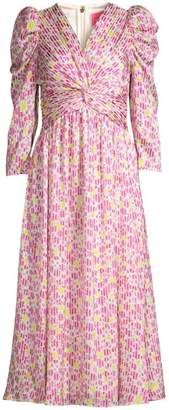 Kate Spade Marker Floral Puff-Sleeve Midi Dress
