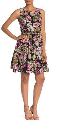 Gabby Skye Sleeveless Belted Floral Dress