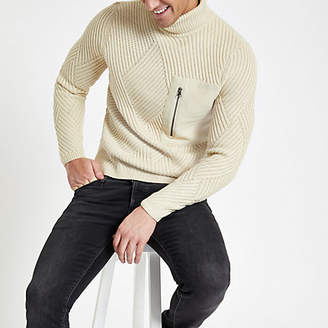 Mens Only and Sons Beige pocket roll neck jumper