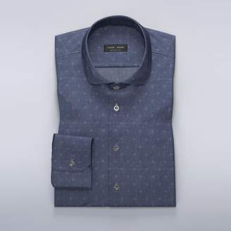 Odin collection - Navy dress shirt with woven pattern