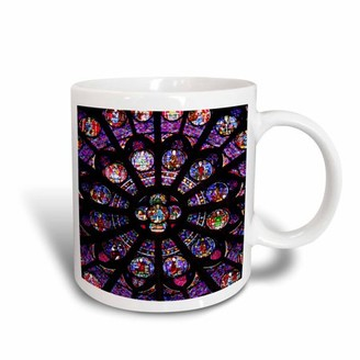 3dRose France, Paris. Stained glass windows of Notre-Dame Cathedral., Ceramic Mug, 15-ounce