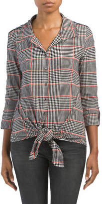 Roll Tab Sleeve Plaid Button Down Shirt