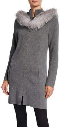 Sofia Cashmere Cashmere Fox Fur Hooded Twofer Coat