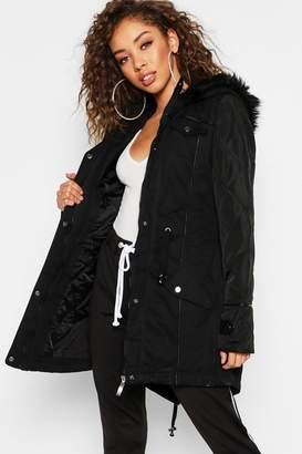 boohoo Faux Leather Sleeve Faux Fur Trim Parka