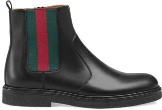 Gucci Kids Children's leather boot with Web