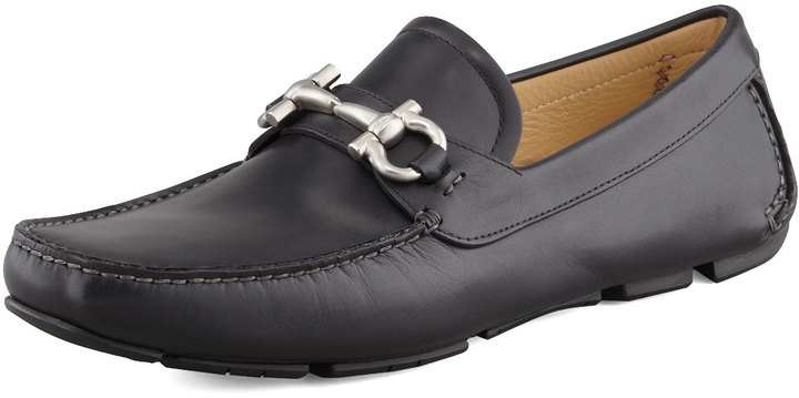 Salvatore Ferragamo Slvtoe Ferrgamo Parigi Leather Gancini Driver, Black