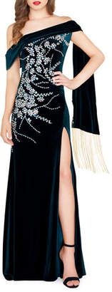 Mac Duggal Floral Embroidered & Beaded Velvet Off-the-Shoulder Gown