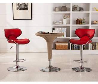 Roundhill Furniture Roundhill Masaccio Cushioned Leatherette Upholstery Airlift Adjustable Swivel Barstool with Chrome Base, Set of 2, Multiple Colors Available