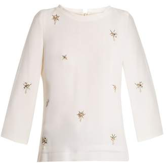 Goat Ezra Bead Embellished Wool Crepe Top - Womens - Cream