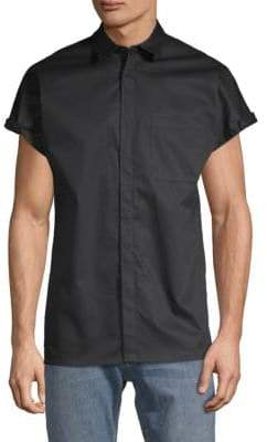 Helmut Lang Uni-Sleeve Cotton Button-Down Shirt