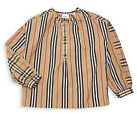 Burberry Women's Little Girl's & Girl's KG5 Lola Icon Stripe Woven Top