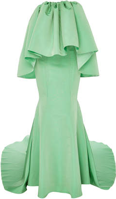 Strapless Flounce Top Mermaid Gown