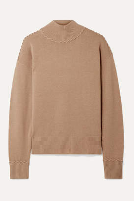 Theory Whipstitched Cashmere Turtleneck Sweater - Camel