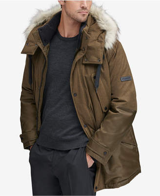Andrew Marc Men's Mixed-Media Parka with Removable Hood