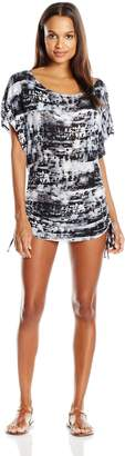 Lucky Brand Women's Global Tie Dye Knit Shirred Tunic Cover up