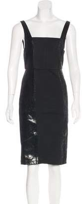 Alice + Olivia Leather-Accented Knee-Length Dress w/ Tags