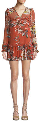 Tularosa Lara Floral-Print Ruffle Mini Dress