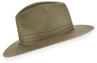 Rag & Bone Packable Straw Fedora Hat with Stitching