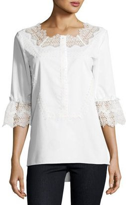 Elie Tahari Magda 3/4-Sleeve Lace-Trim Blouse, White $268 thestylecure.com