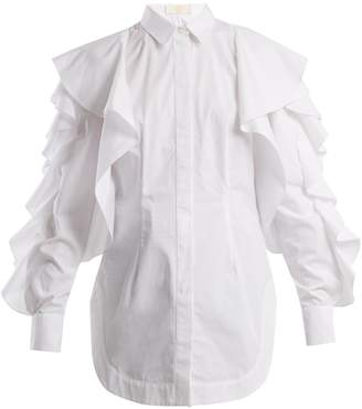 Sara Battaglia Ruffled cotton-poplin shirt