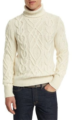 TOM FORD Aran Cable-Knit Fisherman Turtleneck Sweater, Ivory $2,590 thestylecure.com