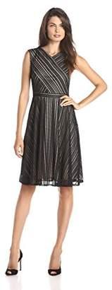 Gabby Skye Women's Sleeveless Cross-Bodice Fit-and-Flare Dress
