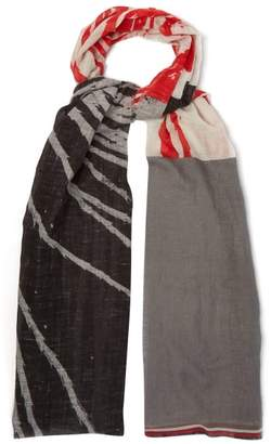Title Of Work - Abstract Print Cotton Blend Scarf - Mens - Grey
