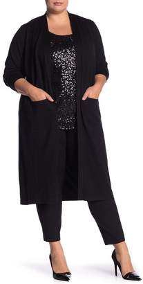 Catherine Malandrino Solid Open Front Cardigan Duster (Plus Size)