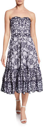 Jonathan Simkhai Scallop Eyelet Strapless Embroidered Dress